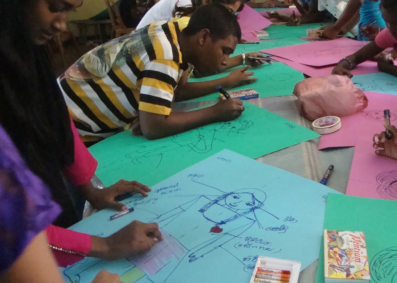 Children preparing posters to illustrate their thoughts.